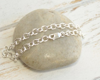 Sterling Silver Finished 7 Inch Charm Bracelet Chain with Lobster Closure