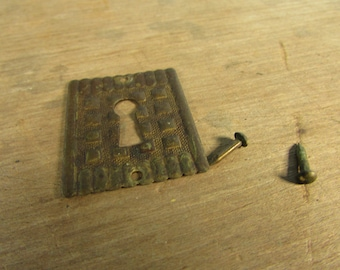 Brass Escutcheon Antique Victorian Vintage Stamped Brass Key Hole Plate with Brass Nails Eastlake
