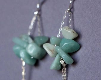 Earrings, Amazonite and Sterling Silver Chain