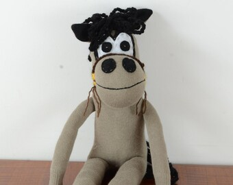 Brown/black horse, sock horse, sock toy, toy animal, horse