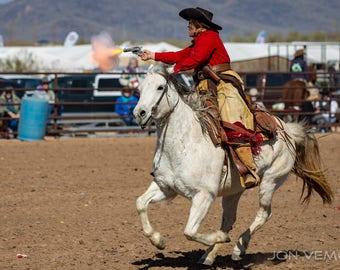 Cowboy Action Photograph, Cowboy Shooter, Cowgirl, Horse, Country Western, Photograph