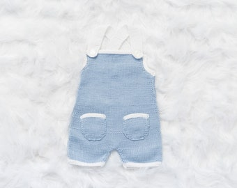 Baby bib, cotton knit blue, knitted summer break, coming home outfit, baby shower gift, baby boy clothes, baby girl clothes