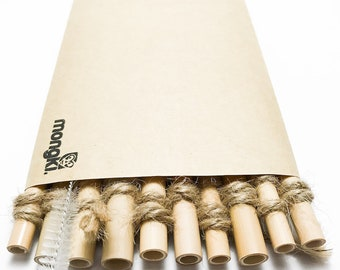 10 Bamboo Straws w/ Stainless Steel Cleaner - Handcrafted, Organic, Biodegradable & Reusable