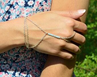 Bohemian Hand Chain // Slave Bracelet // Festival Hand Chain // Boho Hand Jewelry // Wedding Hand Chain // Blue Hand Chain