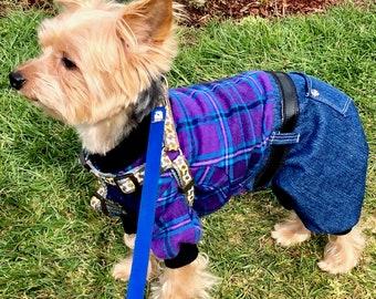 Dog Onesie, XS S M L - Purple Plaid Flannel top, denim bottoms, Pet Onesie Fashion Dog Clothes, In Stock