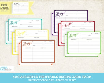 Assorted Printable 4x6 Recipe Card Pack