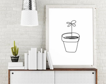 Flower Art, Plant Art, Minimalist Poster, Digital Download Art, Black and White Print, Large Wall Art, Plant Printable Art, Line Drawing