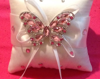 Pink butterfly ring pillow