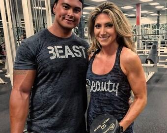 Beauty beast, beauty beast shirts, beauty beast couples shirts, boyfriend girlfriend shirts. Working out shirts. Couples Workout Matching.