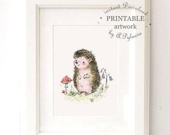 Printable Baby Hedgehog Download Digital Art Printable Art