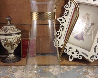 Vintage Glass Pitcher with Gold Wire Handle