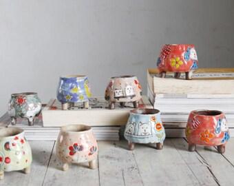 handmade clay ceramic succulent pot