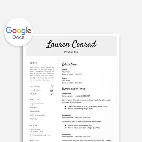 Resume Template for Google Docs Printable Resume Editable