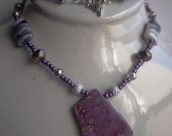 Purple Marble Necklace Set