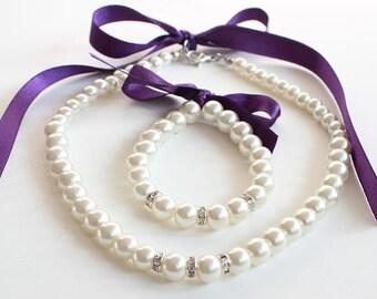 Flower girl jewelry set, purple flower girl bracelet necklace, junior bridesmaid gift, pearl necklace bracelet, wedding gift, wedding party