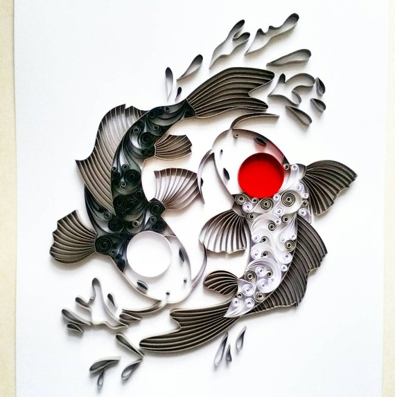 Quilled paper art koi fish yin yang koi fish paper art publicscrutiny Image collections