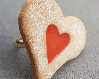 Adjustable ring tray heart apricot