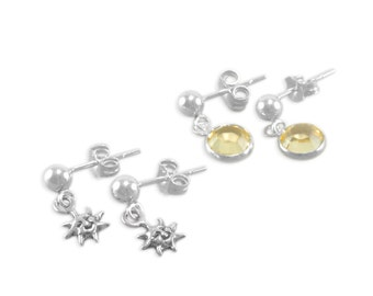 Little Girls Earrings, Sterling Silver, Sun, Yellow Crystals, small dangles, childrens jewelry, young girl present, post earring, child, SET