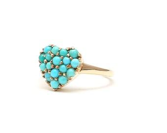 14k Pavé Turquoise Heart Ring