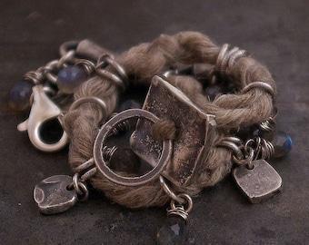 labradorite linen bracelet with raw sterling silver • charm bracelet • oxidised silver  • summer earthy  jewelry  • birthday gift