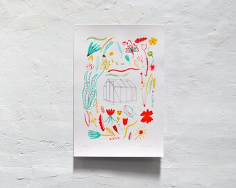 Greenhouse // Original Hand-Pulled Screen Print on Paper