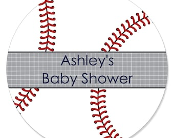24 Baseball Circle Stickers - Personalized Baby Shower or Birthday Party DIY Craft Supplies