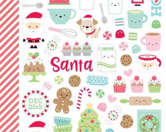 Doodlebug Design Christmas Milk & Cookies Mini Icons stickers/Planners/Calendars/scrapbook/Invitations/Greeting Cards/Holiday Stickers/Santa