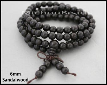 SAMPLE 5 Beads SANDALWOOD Mala Beads - 6mm Round Genuine Natural BLACK GradeA Prayer Yoga Buddhist Beaded for Stretch Wrap Necklace Bracelet