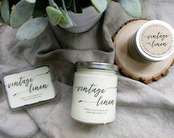 vintage linen - hand poured soy candle