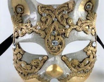 Venetian Cat Mask Made In Italy Acces Si Lucia mas Gatto Paper Mache Carneval caJ2crX