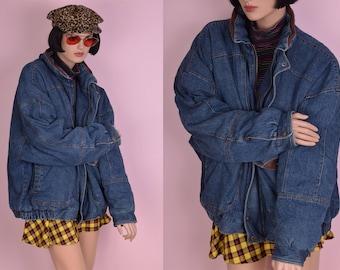 90s Faux Leather Trim Denim Jacket/ Men's 2X/ 1990s