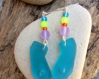 Blue Sea Glass Earrings: California Sea Glass Earrings, California