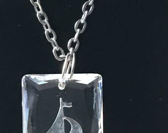 Vintage Sailboat Pendant Necklace / Etched Glass Sailboat Necklace / Vintage Costume Jewelry