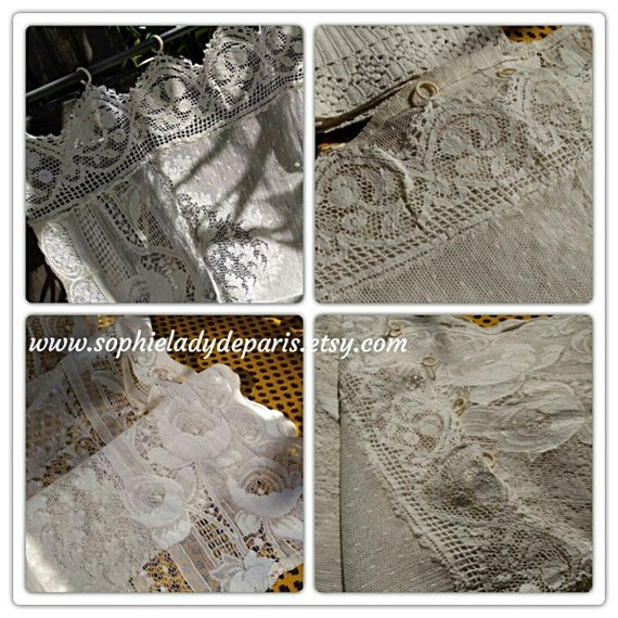 Vintage White French Floral Net Lace Curtain Panel Cotton Made Lace Panel #sophieladydeparis