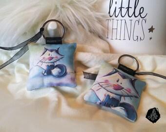 1 x fabric key fob / handmade jewelry bag polar Fox Illustration