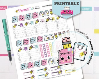 Planning Day Stickers,  Kawaii Printable Planner Stickers, Cute Planner, Pencil, Stickers, Erin Condren, Kawaii Stickers K003