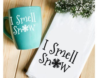 I Smell Snow Tea Towel - I Smell Snow Winter Kitchen Towel - Christmas Tea Towel - Christmas Home Gift - Gilmore Girls Quote