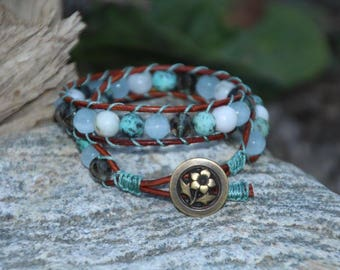 Brown N Teal Leather Wrap Bracelet, Double Wrap Bracelet, Leather Wrap Bracelet, Gemstone Bracelet