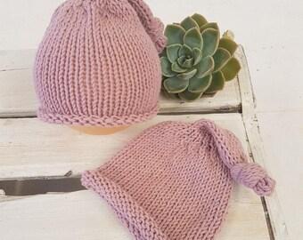 RTS Pink baby girl sleepy cap, elf hat, newborn sleepy cap,  elf hat, baby girl hat ,newborn prop, Knitted baby beanie, RTS . UK seller