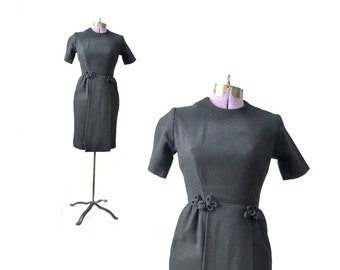 1950s dress, 50s dress, black dress, xs dress, wool dress, winter dress, vintage dress, women's dress, 1950s vintage clothing