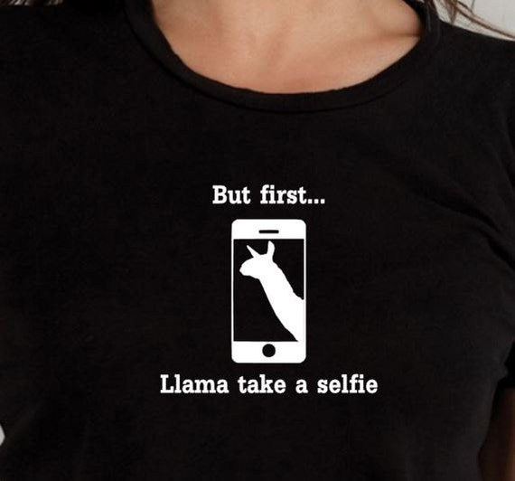 Llama selfie TShirt, funny Tshirt, statement shirt, graphic tee, gifts under 20, ladies shirt, mens T shirt, Llama shirt, pun shirt
