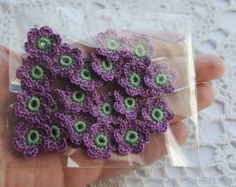 20 small crochet purple flower appliques. Handmade supplies for your crafts and scrapbooking. Crocheted flower embellishments. wedding favor