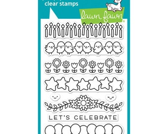 Lawn Fawn Clear Stamps and matching Dies- Simply Celebrate