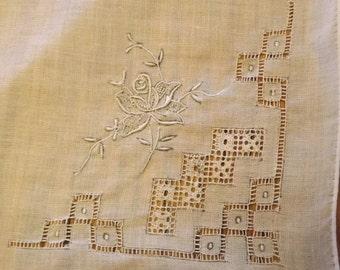 Embroidered Drawn Threadwork  White Handkerchief With Rose Design ( vintage)