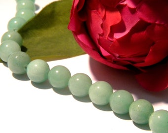 Pearl jade, natural stone bead, green jade, Pearl 8 mm, jade, 10 Pcs gems gemstones - w94