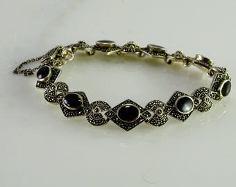 """Onyx and Marcasite  Sterling Bracelet (7"""")"""