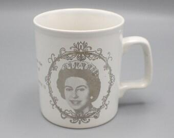 1977 Queen Elizabeth II Silver Jubilee Mug Commemorative Staffordhsire Potteries Brand