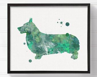 Green Corgi Art Print, Corgi Painting, Corgi Poster, Watercolor Corgi, Purple Corgi, Watercolor Dog Painting, Dog Poster, Dog Illustration