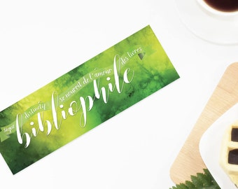 "Bookmark both sides bibliophile in green watercolor - ""Distinctive sign: feeds on the love of books"""
