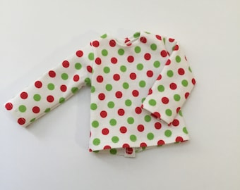 "14.5"" Doll Clothes - Long Sleeved Polka Dot Tee - To fit Wellie Wishers and Hearts for Hearts dolls"